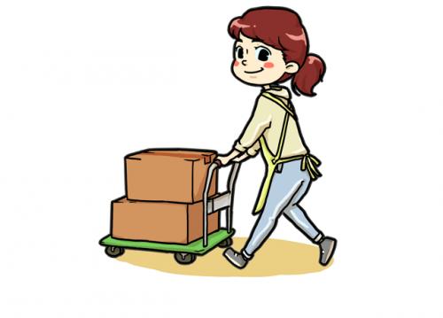 荷物は重くないから女性の方でも積み下ろしが楽々!台車を使うので簡単に運べます!